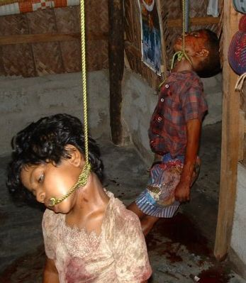 Hanging of children by Lanka forces.
