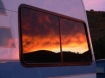 RV sunset in window
