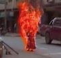 A screen grab of a short clip of Palden Choetso's self-immolation on November 3, 2011 in Tawu region of eastern Tibet.