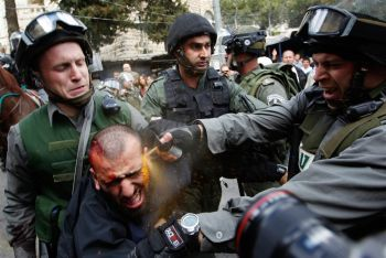 One of many images from 'Land Day' showing Israeli troops abusing and arresting peaceful demonstrators.