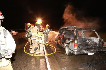 Car fire near Tangent Oregon 4-1-14