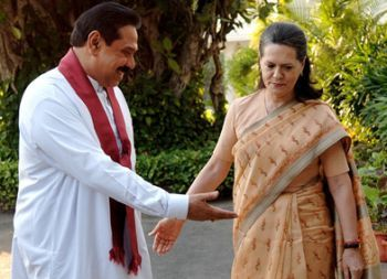 President Rajapakse with Mr. Sonia Gandhi, the President of the Congress