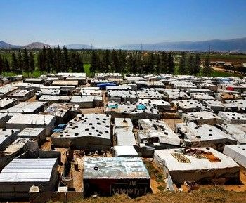 Syrian refugee encampment in Lebanon