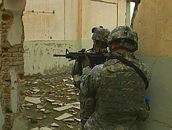 Soldiers on a combat patrol in Kabul, Afghanistan.