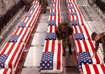 Flag draped American coffins being returned from Iraq