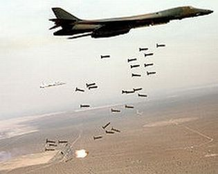 B1-B Lancer dropping cluster bombs on SE Asia