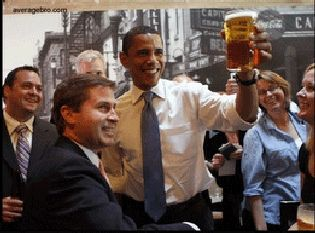 President Obama with a mug of beer