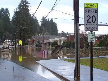 Vernonia Oregon's high school after floodwaters hit