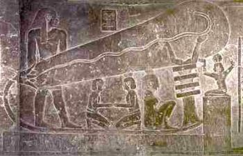 Relief on the temple crypt wall at Hathor