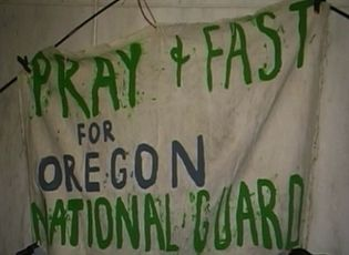 Vigil and fast on Oregon capitol steps protesting next year's deployment of Oregon Guard soldiers to Iraq.