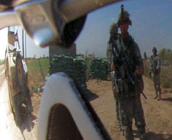 View from a U.S. soldier's sunglasses