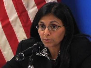Newly sworn U.S. Assistant Secretary of State for South and Central Asian Affairs Nisha Biswal.
