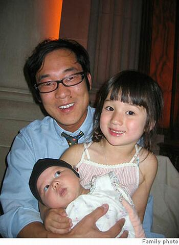 James Kim with daughters Penlope and Sabine