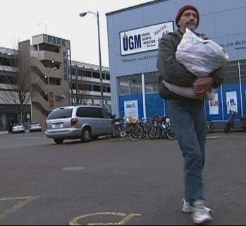 Homeless man leaving Salem's Union Gospel Mission. Photo by Tim King KATU/Salem-News.co