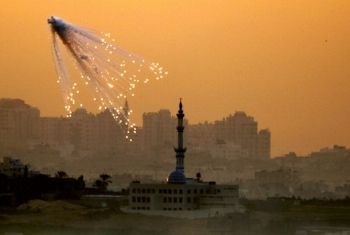 Operation Cast Lead exploding an illegal fury of white phosphorous over Gaza's civilian population.