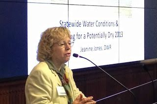 Jeanine Jones of the Department of Water Resources helped organize the workshop and spoke on statewide water conditions.