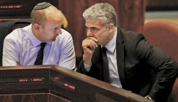 "Naftali Bennett (left) and Yair Lapid: a political alliance of ""liberal colonialism."" Photo by Olivier Fitoussi"