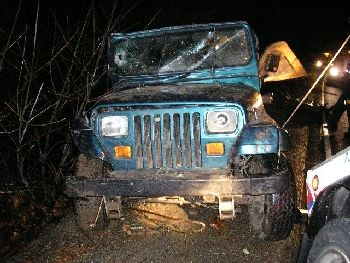 Jeep in fatal crash  after it was recovered from a deep ditch it crashed into about four miles south of Rogue River, Oregon, 12-29-07
