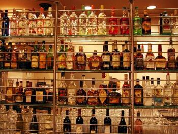 liquor store shelves