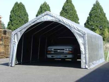 truck under portable tent
