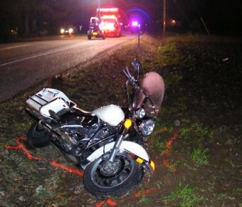 Photo of fatal motorcycle crash scene in Benton County, Oregon, 2-12-08 by Oregon State Police