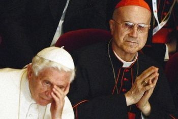The Ex Pope and the New Pope? Joseph Ratzinger (l) and the palace coup-master, Cardinal Bertone