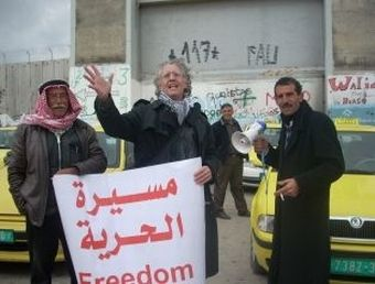 Dr. Frank Romano, author of Storm Over Morocco, on one of his many Interfaith Peace Marches, in Occupied Palestine.