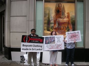 boycotting Victoria Secret for selling clothing manufactured in a country accused of committing genocide of the Tamil people