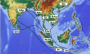Ancient maritime trade route from Odisha to South India, Sri lanka and East Asia, including Bali.