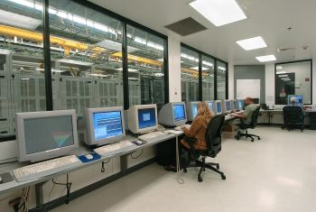 Verizon Wireless employees in the switch control room
