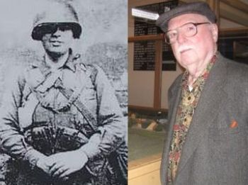 Doc Leveque during WWII in his 'battle rattle' and today.