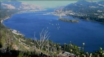Aerial shot of the Columbia River