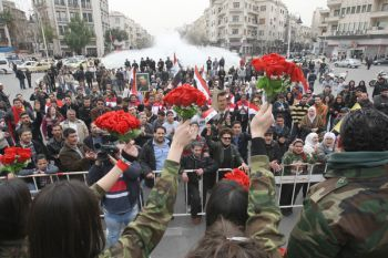 Syrian soldiers enjoy Valentine Day in Damascus.