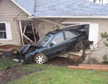 Car crash into house 1-1-09