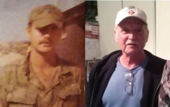 Pat Kirby during the Vietnam War, and today.