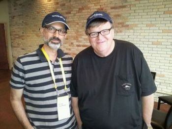 Arnon Goldfinger with Michael Moore Courtesy: algemeiner.com