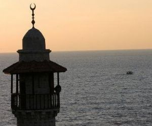 Mosque on the coast of the Mediterranean Sea on the Gaza coast. Courtesy: Ma'an News Service.