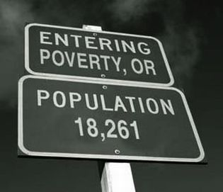 City limits sign for Poverty, Oregon