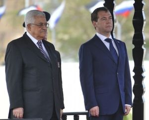 Russian President Dmitri A. Medvedev and Palestinian Authority President Mahmoud Abbas