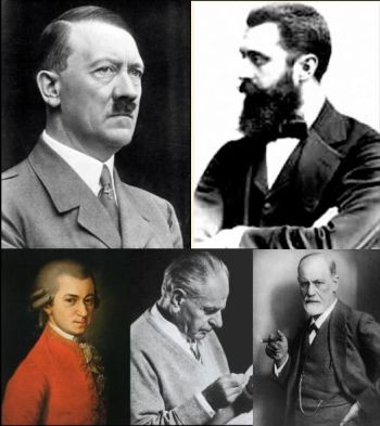 Top: Hitler and Hertzl, bottom: Mozart, Popper, and Freud
