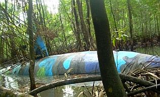 DEA photo of drug submarine in Ecuador