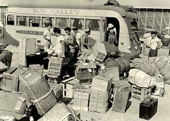 Incarcerated Americans of Japanese origin from the west coast being offloaded at Minidoka internment camp in Idaho.
