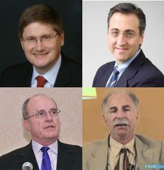 Clockwise from top left: Douglas Throckmorton, MD, Scottt Fishman MD, Perry Fine, MD and Lynn Webster, MD