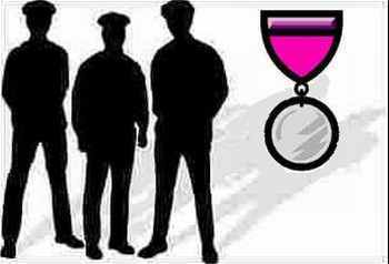 Police shadow figures artwork with medal