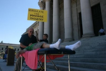 Recent Massage Therapist capitol steps demonstration in Olympia, Washington