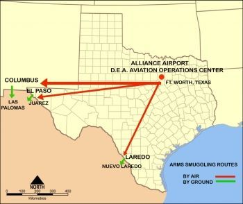 Map of Los Zetas weapon routes