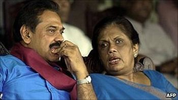 President Chandrika Kumaratunga has been critical of her successor, Mahinda Rajapaksa, in Sri Lanka. AFP photo.