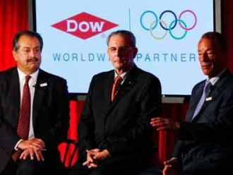 Protesting Dow sponsorship of Olympics