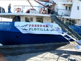 The MV Rachel Corrie preparing for the Gaza Freedom Flotilla
