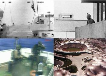 Images from the Flotilla massacre on the left, versus Munich in 1972